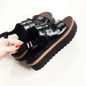 ZARA Platform Black Sandals